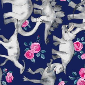 Dinosaurs and Roses on Dark Blue Purple - rotated