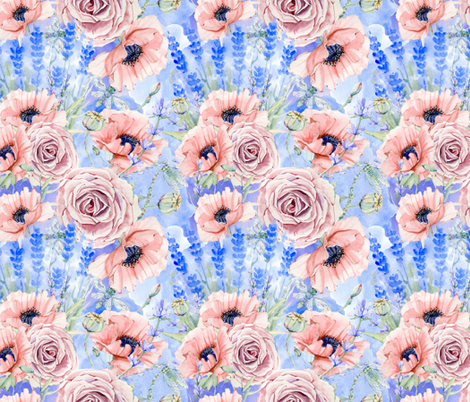 Poppies Roses and Lavender Fields- Small fabric by utart on Spoonflower - custom fabric
