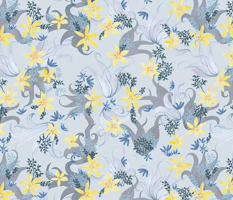 Blue and yellow lillies fabric by joanna_plucknett on Spoonflower - custom fabric