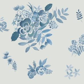 Blue watercolour floral