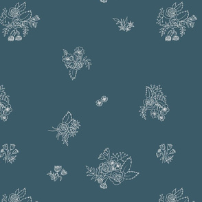 White ink flowers on navy
