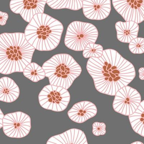 Colorful retro summer blossom scandinavian vintage style florals illustration print in pink gray and copper