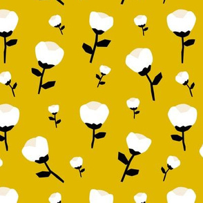 Paper cut cotton boll flower autumn bloom botanical garden theme mustard yellow