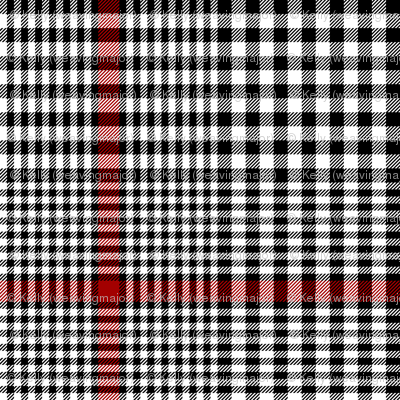 """Prince of Wales check #2, 5"""" repeat, black/white/red"""