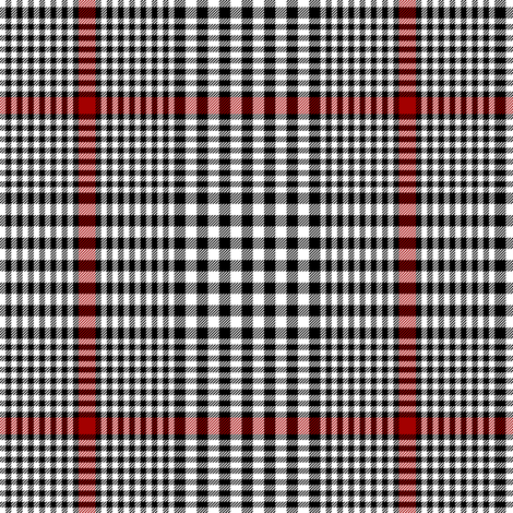 """Prince of Wales check #2, 5"""" repeat, black/white/red fabric by weavingmajor on Spoonflower - custom fabric"""