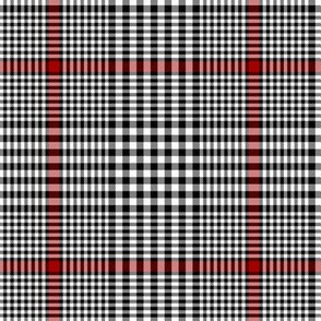 "Prince of Wales check #2, 5"" repeat, black/white/red"