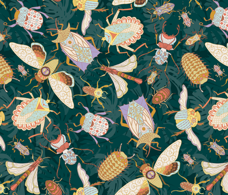 Jungle Bugs Exotica - Teal fabric by denise_ortakales on Spoonflower - custom fabric