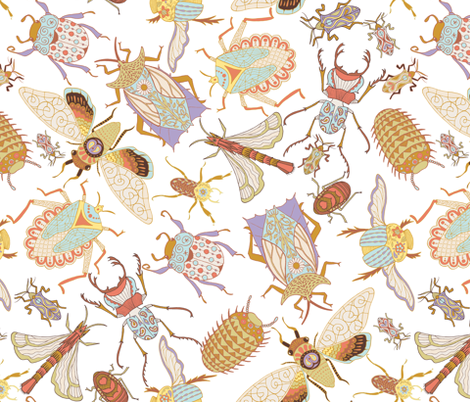 Jungle Bugs Exotica - White fabric by denise_ortakales on Spoonflower - custom fabric