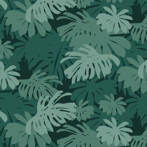 Jungle Leaves - Teal Dark