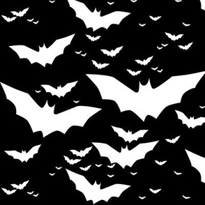 bats in white on black