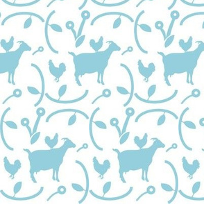 Goats and Hens Light Blue on White, Modern Farmhouse Style