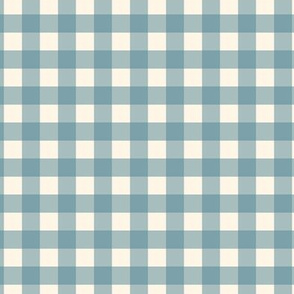 "Blue on Cream Off White Check Gingham Plaid Traditional 1"" Squares _ Miss Chiff Designs"