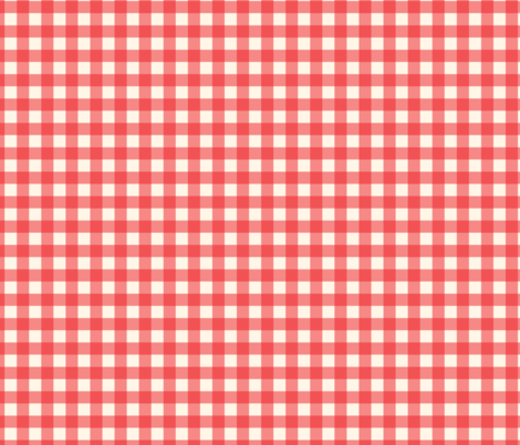 """Cherry Red on Cream Off White Buffalo Check Gingham Plaid Traditional 1/2"""" Squares _ Miss Chiff Designs fabric by misschiffdesigns on Spoonflower - custom fabric"""