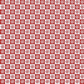 Snowflakes red and white.