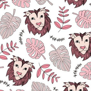 King of the jungle love lion safari garden sweet hand drawn lions pattern fall winter pink maroon
