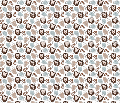 King of the jungle love lion safari garden sweet hand drawn lions pattern fall winter copper brown blue SMALL fabric by littlesmilemakers on Spoonflower - custom fabric