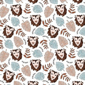 King of the jungle love lion safari garden sweet hand drawn lions pattern fall winter copper brown blue SMALL