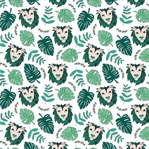 King of the jungle love lion safari garden sweet hand drawn lions pattern fall spring green lush SMALL