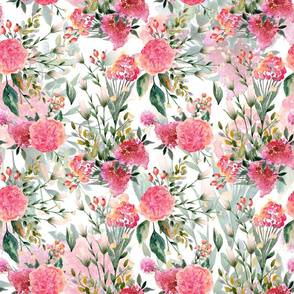"""18""""  Blush Roses and Wild Flowers - Double Layers"""