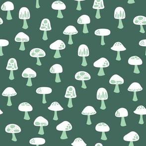 Woodland Mushrooms Green (Spring)