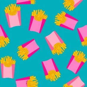 french fries - food, junk food, fast food, food fabric - pink and blue