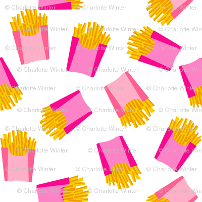 french fries - food, junk food, fast food, food fabric - pink