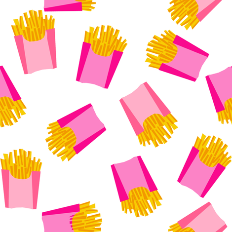 french fries - food, junk food, fast food, food fabric - pink fabric by charlottewinter on Spoonflower - custom fabric