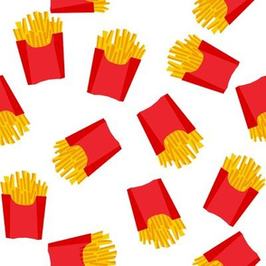 french fries - food, junk food, fast food, food fabric - red