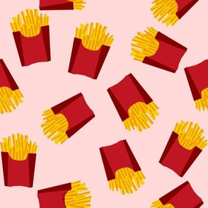 french fries - food, junk food, fast food, food fabric - pink and red