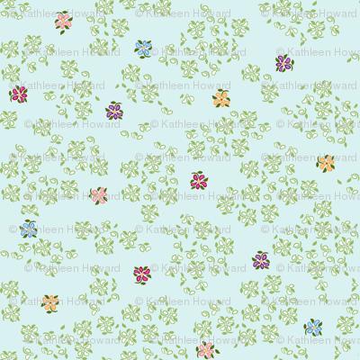 scattered floral single blue green background 1800 d