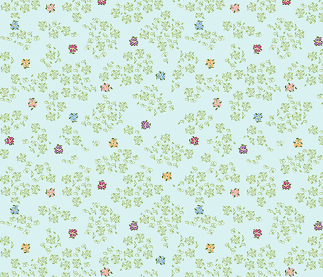 scattered floral single blue green background 1800 d fabric by khowardquilts on Spoonflower - custom fabric