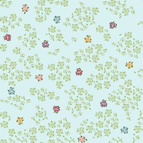scattered floral single blue green background 1800 d