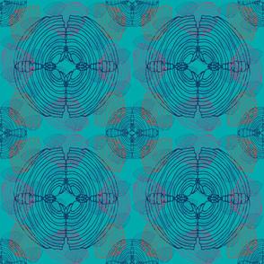 Sea Shells - Navy on Turquoise