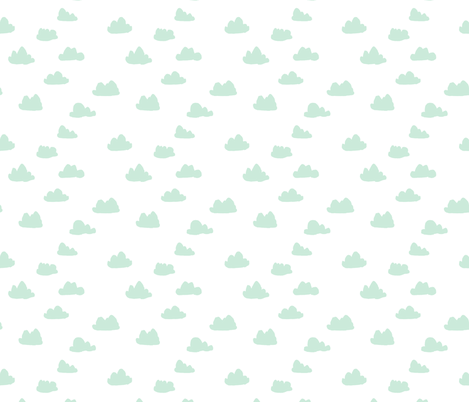 clouds // mint kids nursery baby kids mint and white quilt coordinate crib bedding baby fabric by andrea_lauren on Spoonflower - custom fabric