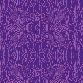 Mirrored zebras lavender on purple