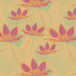 Botanical Leaves with Palms  - Cassis on Mellow Yellow