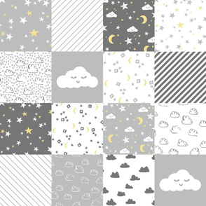 cloud and stars nursery cheater // cheater quilt, wholecloth, baby, grey and white clouds, nursery cute