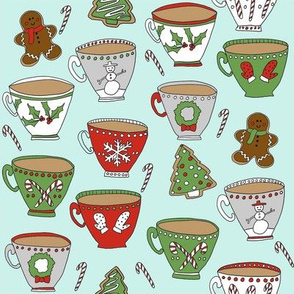 christmas tea and coffee // hot chocolate, cocoa,  christmas, holiday, xmas, candy cane, teacup, tea party, snowman, snowflake - mint