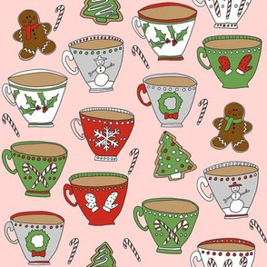 christmas tea and coffee // hot chocolate, cocoa,  christmas, holiday, xmas, candy cane, teacup, tea party, snowman, snowflake - pink