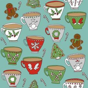 christmas tea and coffee // hot chocolate, cocoa,  christmas, holiday, xmas, candy cane, teacup, tea party, snowman, snowflake - blue