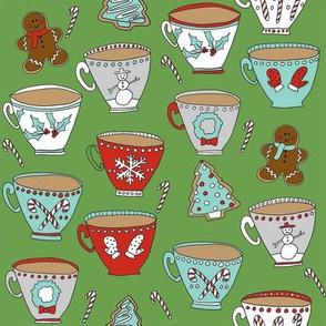 christmas tea and coffee // hot chocolate, cocoa,  christmas, holiday, xmas, candy cane, teacup, tea party, snowman, snowflake - green