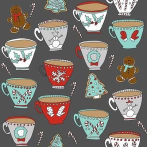christmas tea and coffee // hot chocolate, cocoa,  christmas, holiday, xmas, candy cane, teacup, tea party, snowman, snowflake - charcoal
