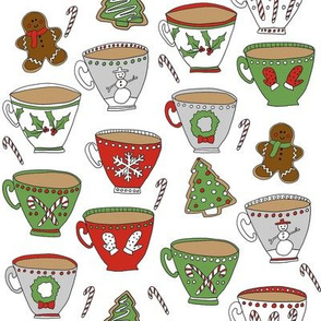 christmas tea and coffee // hot chocolate, cocoa,  christmas, holiday, xmas, candy cane, teacup, tea party, snowman, snowflake - white
