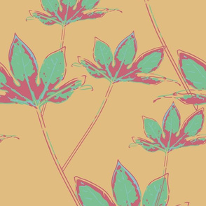 Botanical Leaves - Mellow Yellow, Cassis and Neo Mint