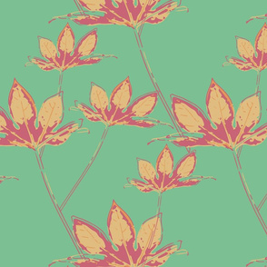 Botanical Leaves - Mellow Yellow on Neo Mint