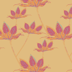 Botanical Leaves - Cassis on Mellow Yellow