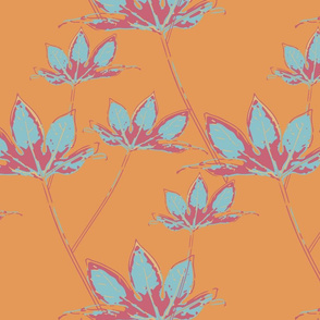 Botanical Leaves - Purist Blue on Cantaloupe