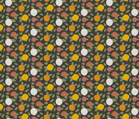Colorfull Dahlia flowers and some green leaves on a dark background fabric by esthermols on Spoonflower - custom fabric