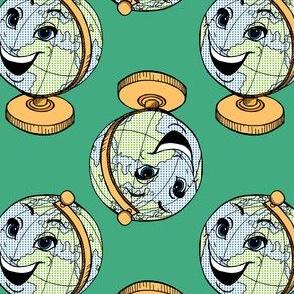 Happy Globe on Green