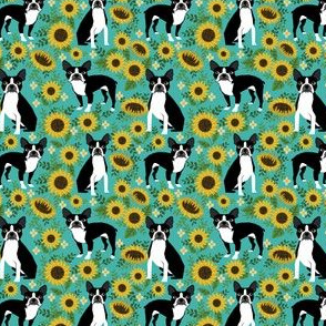 SMALL - boston terrier sunflower fabric dogs and sunflowers floral design - turquoise
